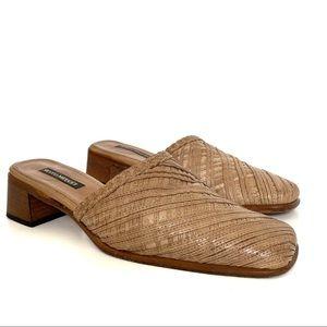 Sesto Meucci Woven Leather Mules Tan Brown 9